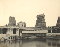 North-west view of Pottamarai Tank, Minakshi Amman Temple [Minakshi Sundareshvara Temple], Madura